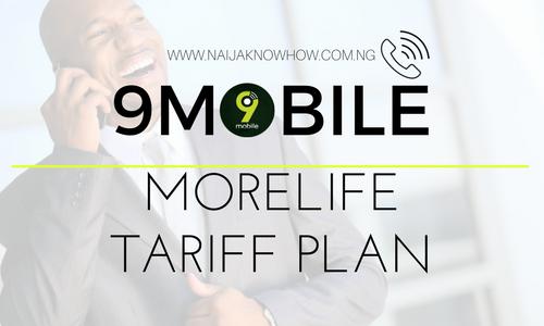 9MOBILE MORELIFE TARIFF PLAN